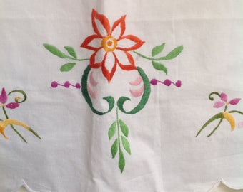 Pillow cases x 2 beautiful colour embroidered flowers in orange emerald green and vibrant pinks standard UK size unused crisp whit cotton