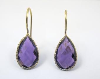 Sterling Amethyst Drop Earrings, Gold Vermeil Dangle Tear Drop Pierced Earrings, Purple Faceted Amethyst Jewelry, February Birthstone
