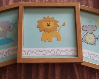Nursery pictures, picture frames , handmade, new baby gift, baby boy,baby's room, decorated frame, mouse, elephant, lion,animal frames