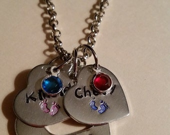 Hand Stamped Grandma/Mom name necklace