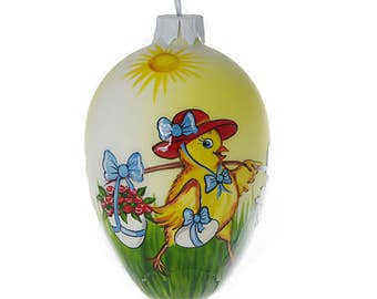 Chicken (Yellow) Glass Easter Egg