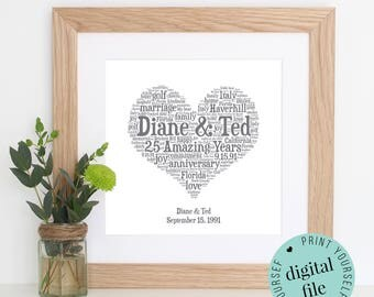 25th ANNIVERSARY GIFT - Word Art - Silver Anniversary - Printable - 25th Wedding Anniversary - 25 Year Anniversary - Personalised Gifts