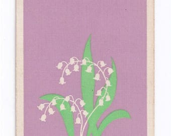 Swap Trading Card - 1930s - 1940s - Lilly of the Valley Flowers - Playing Side is the 2 of Hearts.