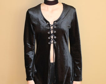 90's Witchy Medieval Black Velvet Lace up Top