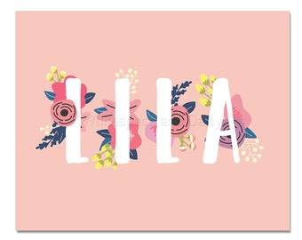 Lila Baby Name Wall Art Lila Baby Name Sign Lila Party Printable Lila Party Decorations Lila Art