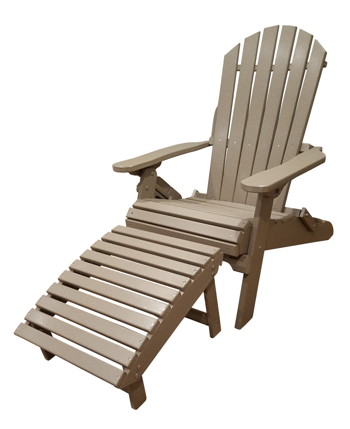All weather adirondack folding chair with ottoman - Brown resin adirondack chairs ...