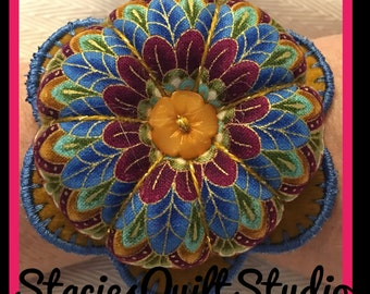 Flower Wrist Pin Cushion - Blue Feathers