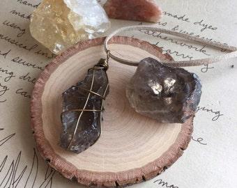 Raw Smoky Quartz Necklace - Smoky Quartz - Crystal Necklace - Raw Stone Necklace - Healing Necklace