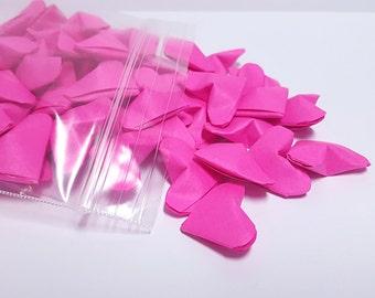 Fuchsia Origami Hearts ~ 100 Count ~ 3D Origami Hearts ~ Valentine's Day Decoration ~ Paper Anniversary ~ Wedding Decoration
