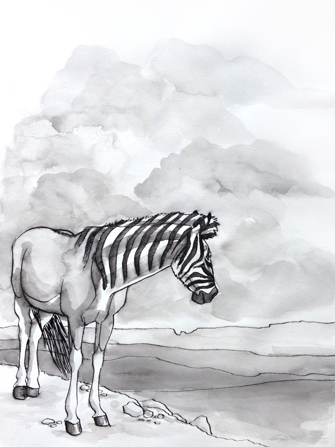 Quagga Extinct Animals Original Ink Drawing Inktober Prehistoric Wildlife  Horse Artwork Original Artwork Unframed Artwork Black