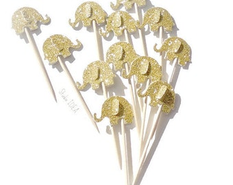 Double sided Glitter Gold Elephant Cupcake Toppers, Food Picks