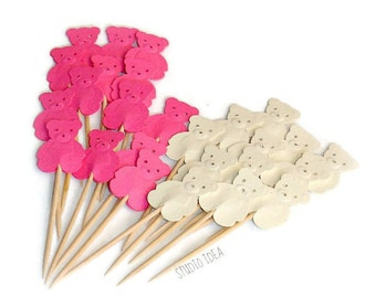 Mixed Hot Pink & Cream Teddy Bear Cupcake Toppers, Food Picks-Set of 24 pcs