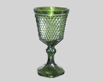 Vintage Goblet Vase Large Vase Home Decor Green Glass Vase Goblet Style