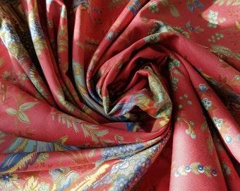 Vintage French Romanex de Boussac GASAKI Fabric Remnant-Oriental Scenes,Quality Textile,Superb Brocante Find,Sewing Projects,Renovation etc