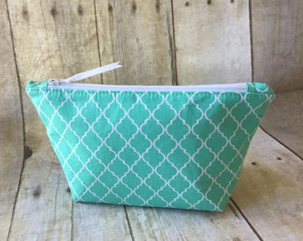 Cosmetic Pouch, Fabric, Handmade, Woman's, Tiffany Blue