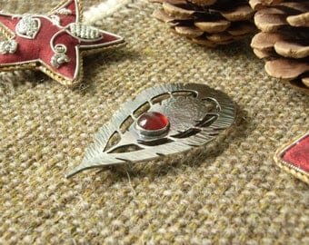 "Handmade Silver Exotic ""Feather"" Brooch with Carnelian. Hallmarked Sterling Silver. 10mm Cabochon."