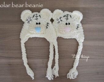 Pretty Newborn Crochet Polar Teddy Bear Beanie Hat Photo Photography Prop