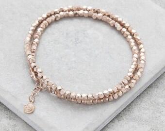 Double Rose Gold Nugget Wrap Bracelet,