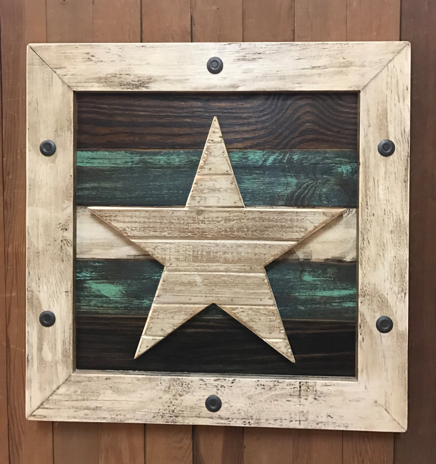 STAR Barn Wood WALL ART Framed Rustic Reclaimed Pallet
