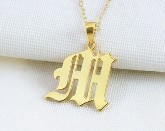 Old English Script Letter Necklace, Gold Letter Necklace,Personalized Name Necklace, Customized Initial Necklace, Birthday Gift N033
