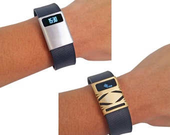 Bundle Pack! Premium Unisex Stainless Steel Fitbit Charge/Charge HR Cover - BASIC or GEO Cover to Enhance and Protect Your Fitness Tracker