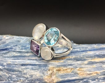 Rainbow Moonstone Amethyst Blue Topaz Ring // 925 Sterling Silver // Multi Stone Setting