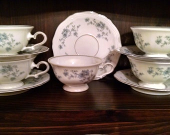 havilland blue garland five cups and saucers