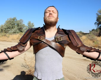 Leather Spartacus Armor- battle ready Gladiator pauldron & chest armor with integrated arm plates and hand guard