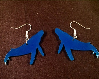 Pacific Blue Acrylic Seaglass Whale Earrings