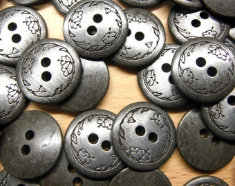 Etched Buttons in Antique-Silver, Approx. 360 pcs