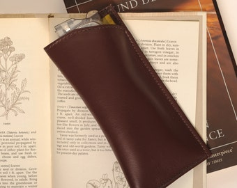 Mens Silk lined Leather Glasses Case
