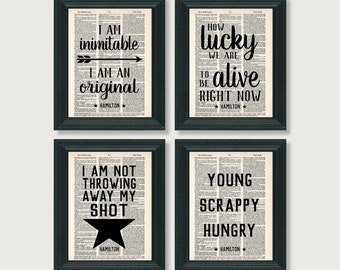 Hamilton Gift Pack - Four Hamilton Quotes - Dictionary Art Prints - Value Priced Gift for Hamilton Fans - Theater Lovers Gift