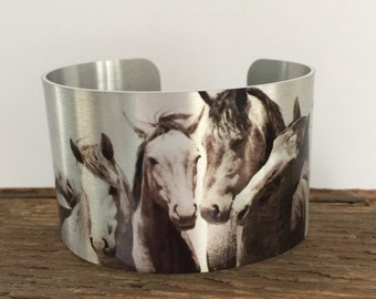"""Horse jewelryWild Horse Aluminum Cuff Bracelet. """"Just me and the Boys"""""""