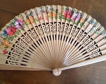 Wooden hand-painted flamenco fan