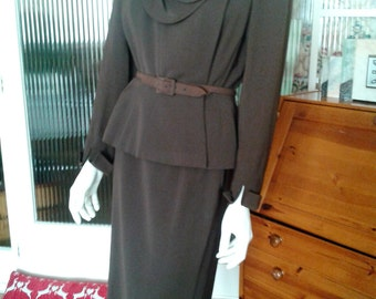 Original late 1940s Ladies Chocolate Brown Pure Wool Belted Suit