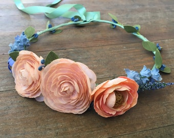 Peach and Blue Ranunculus and Hyacinth Flower Crown