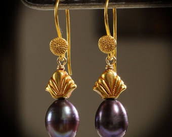 Estate Thai Princess 18K Gold Cultured Black Peacock Pearl Earrings, Baroque Style Oblong Pearls