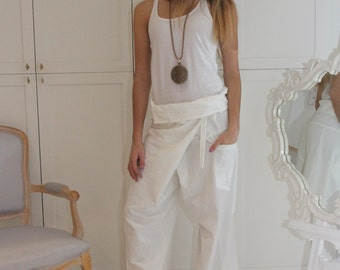 White Loose Casual pants / Drop Crotch Pants / Extravagant Pants / Unique Pants