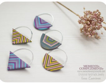 Geometric Broochs handmade polymer clay & aluminium.  Stripes pattern with geometric designs pin.