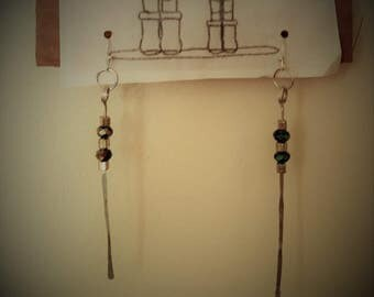 1 Pair - Raindrop Earrings: Handhammered Silver & Swarovski Crystal
