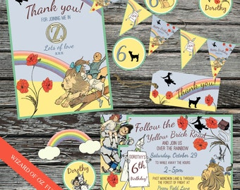 Personalised Wizard of Oz Party set, Invitation, Thank you, Tags, Cup Cake Toppers, Bunting, Poppy invites, Yellow brick road, Scarecrow