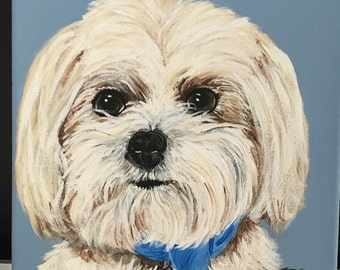 maltipoo decor custom maltipoo art custom maltese custom pet portrait from photo commission pet portrait painting of my dog