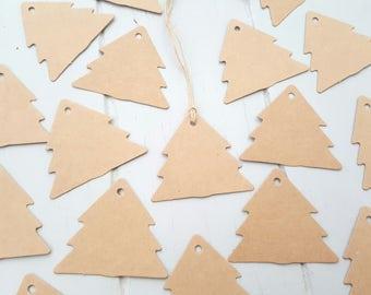 50 Kraft Xmas Tree Swing Tags Brown