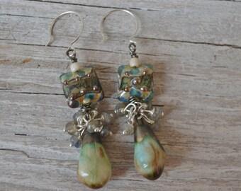 Grace lampwork earrings with ScorchedEarth drops - DayLilyStudio