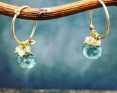Green Amethyst esrrings, presiolte hoops, green gemstone, hoops, gold fill earrings, hoops with gemstone, blush zirons , handmade earrings