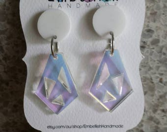 Iridescent Acrylic Drop Earrings, GLIMMER, Surgical Stainless Steel, Statement Earrings, Rainbow, Colour Changing, Diamond, Unicorn