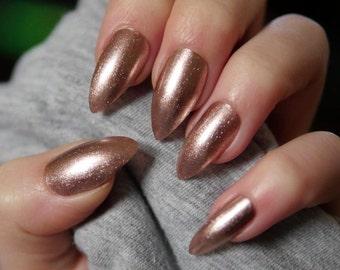 24pcs Hand Painted Champagne Rose Gold Glitter Stiletto False Nails