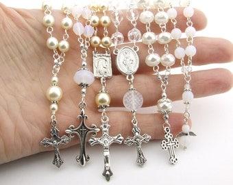 Mini Rosary Favors Set of 10 - Crystal & Pearl Handmade Catholic Rosary Beads Tenner - Baptism Favors - Wedding Christening Communion Favors