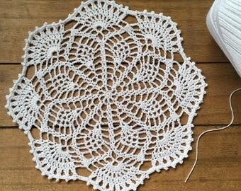 "Small crochet doily, white lace doilie, 7 1/2"""