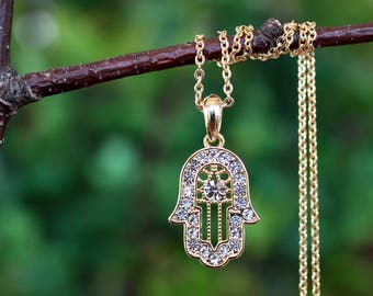 Hamsa Pendant Necklace.Jeweled Crystal.Gold Filled Chain.Rhinestone.Bridal.Judaica.Hanukkah.Bat-Mitzvah.Prom.Holiday.Gift.Handmade.
